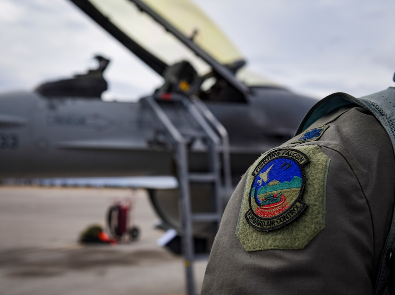 Lt. Col. Daniel McGuire, 57th Wing fighter pilot, displays the Forward Air Control patch at Nellis Air Force Base, Nevada, Feb. 27, 2018. The 24th TASS will fly F-16 Fighting Falcon fighter jets and focus on overcoming air-to-ground adversaries. (U.S. Air Force photo by Airman 1st Class Andrew D. Sarver)