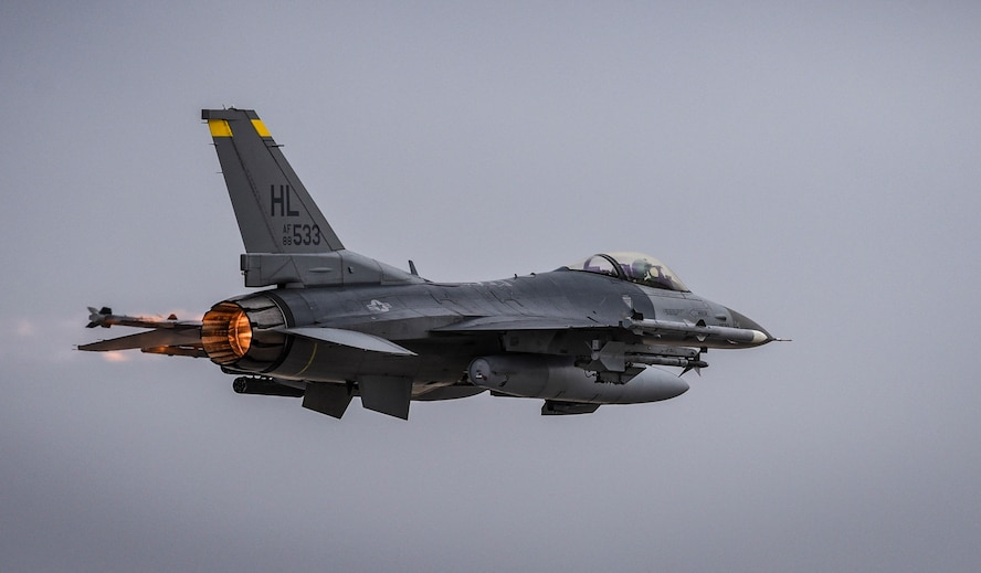 An F-16 Fighting Falcon assigned to the 24th Tactical Air Support Squadron takes off from Nellis Air Force Base, Nevada, Feb. 27, 2018. The 24th TASS will fly the F-16 and focus on overcoming air-to-ground adversaries. (U.S. Air Force photo by Airman 1st Class Andrew D. Sarver)
