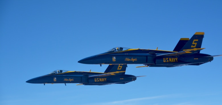 Reserve Citizen Airmen from the 507th Air Refueling Wing at Tinker Air Force Base, Okla., refueled seven F/A-18 Hornets from the U.S. Navy Blue Angels team March 19, 2018. The Blue Angels returned home to Pensacola Naval Air Station, Fla., after three months of training at El Centro Naval Air Facility, Calif. (U.S. Air Force photo/Tech. Sgt. Samantha Mathison)