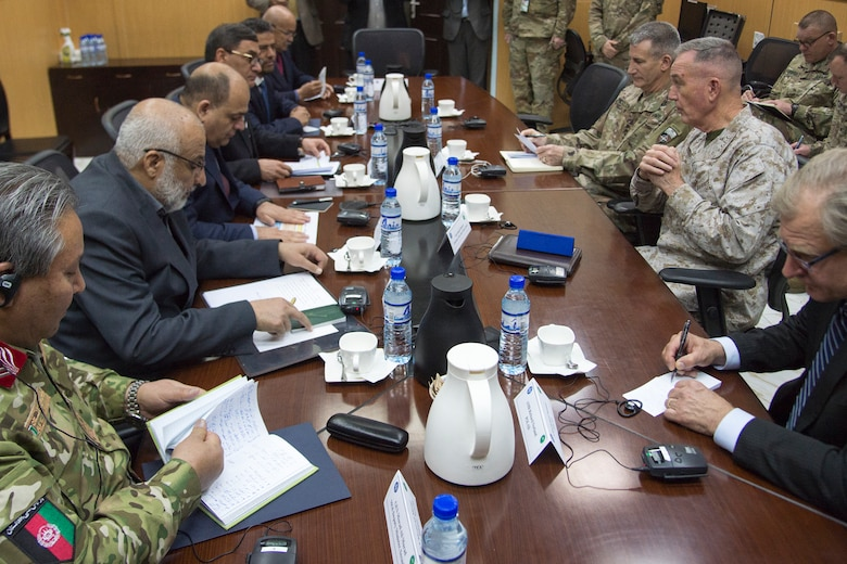 Marine Corps Gen. Joe Dunford, chairman of the Joint Chiefs of Staff, and Army Gen. John W. Nicholson Jr., commander, Resolute Support Mission and U.S. Forces Afghanistan, meet with Afghan senior government and military leaders in Kabul, March 20, 2018. The senior leaders discussed the current security environment in Afghanistan, the progress of the Afghan National Defense and Security Forces, and the re-posturing of U.S. forces as part of the new South Asia strategy.