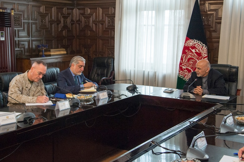 Marine Corps Gen. Joe Dunford, chairman of the Joint Chiefs of Staff, meets with Afghan President Ashraf Ghani, Chief Executive Abdullah Abdullah, and various other Afghan senior government and military leaders in Kabul, March 20, 2018. The senior leaders discussed the current security environment in Afghanistan, the progress of the Afghan National Defense and Security Forces, and the re-posturing of U.S. forces as part of the new South Asia strategy.