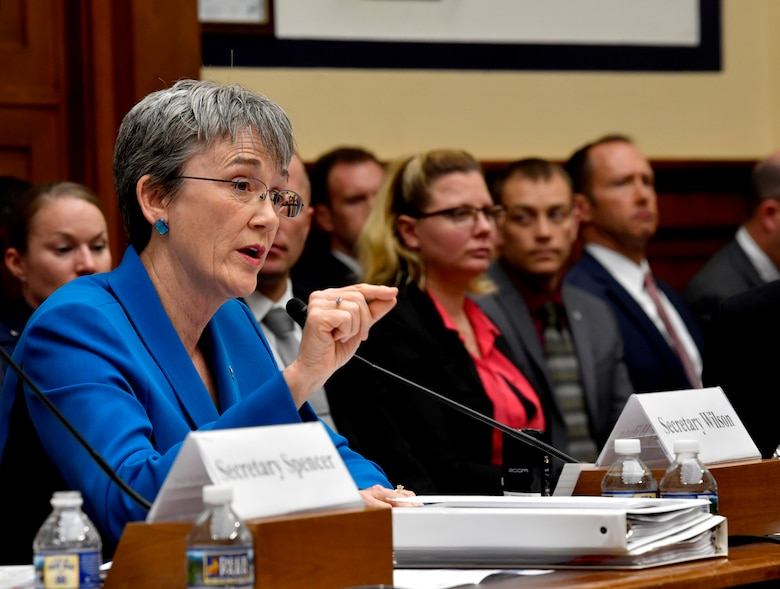 Secretary of the Air Force Heather Wilson testifies before the U.S. House of Representatives Armed Services Committee about the Air Force's fiscal year 2019 budget March 20, 2018, in Washington, D.C. (U.S. Air Force photo by Wayne Clark)