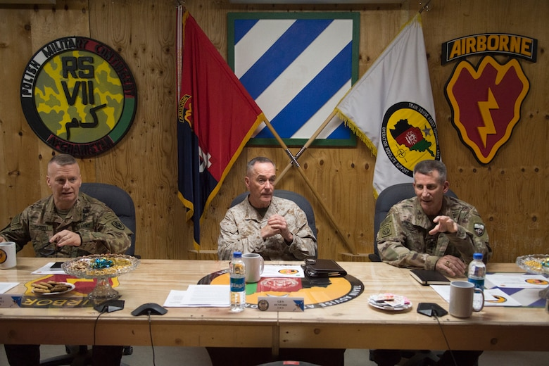 Marine Corps Gen. Joe Dunford, chairman of the Joint Chiefs of Staff, and Army Gen. John W. Nicholson Jr., commander, Resolute Support Mission and U.S. Forces Afghanistan, have a roundtable discussion with members of Train Advise Assist Command - East at Forward Operating Base Gamberi, March 21, 2018.