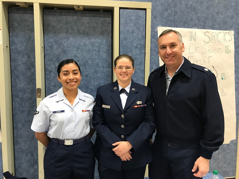 655th Intelligence, Surveillance and Reconnaissance Group, 50th Intelligence Squadron Acting Commander Lt. Col. Jason Markiewitz and two Airmen from the 9th Intelligence Squadron brought their technical and military expertise to the Bridge Street School Career Exploration Night event in Yuba City, California, February 20, 2018.