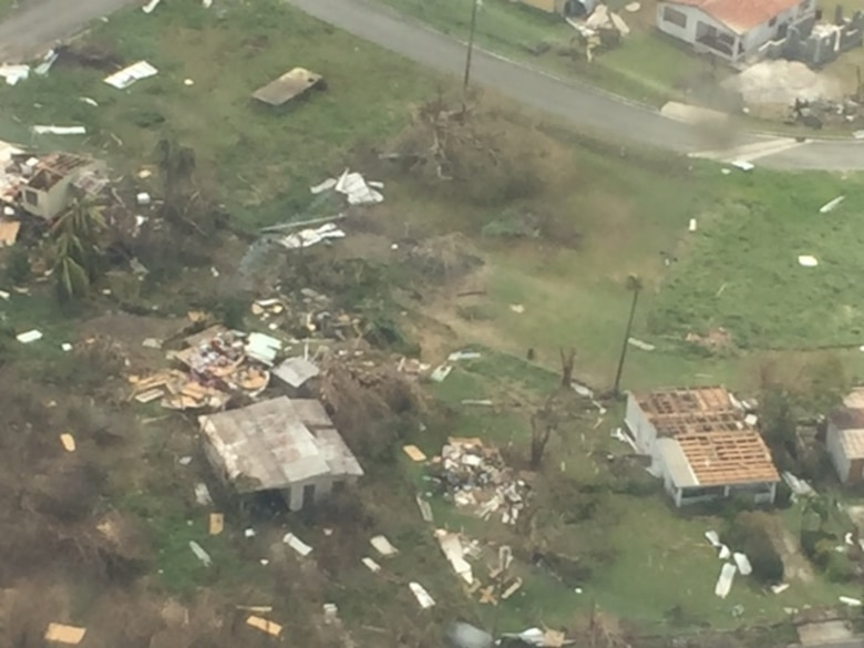 Damage caused by Hurricane Maria on St. Croix, U.S. Virgin Islands seen from the air, Sept. 23, 2017. (Photo by Lt. Col. Elizabeth Anderson-Doze)