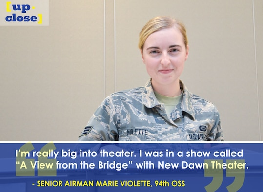 This week's Up Close features Senior Airman Marie Violette, a 94th Operations Support Squadron intelligence analyst. Up Close is a series spotlighting individuals around Dobbins Air Reserve Base. (U.S. Air Force graphic/Staff Sgt. Andrew Park; U.S. Air Force photo/Senior Airman Lauren Douglas)