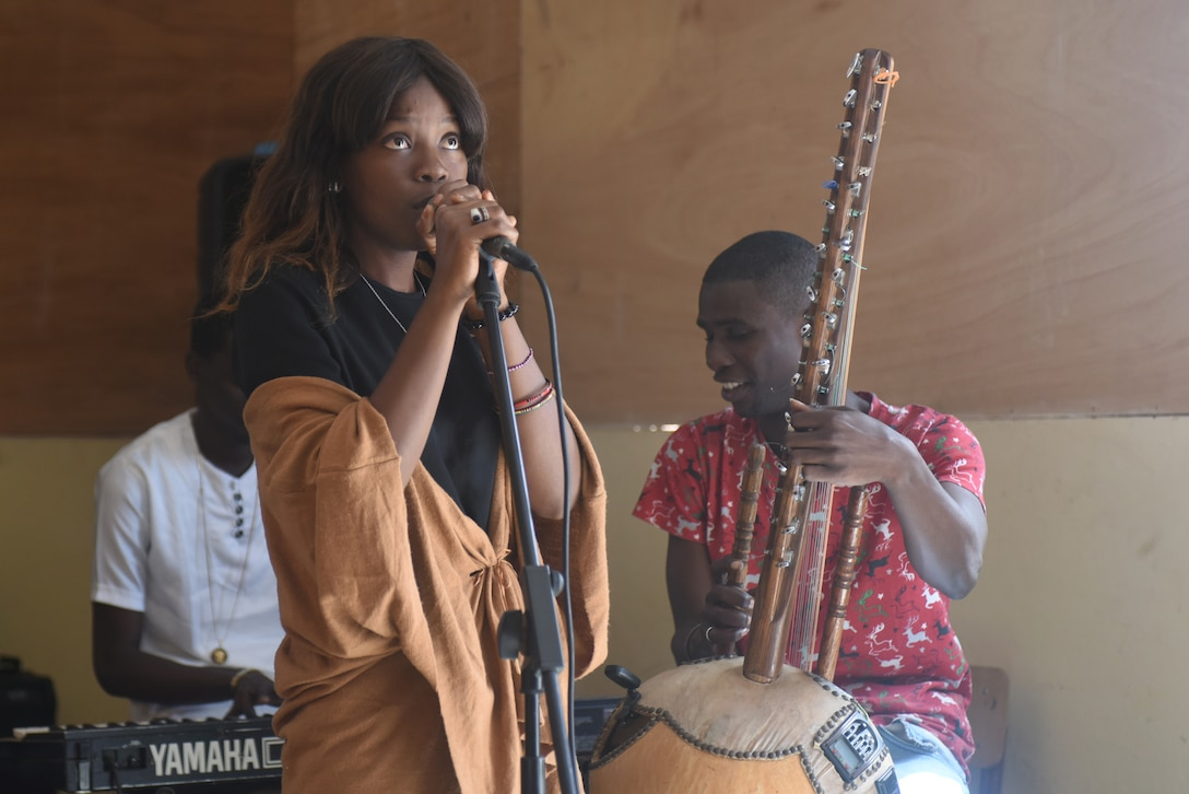 Students perform music at the National School of the Arts in Dakar, Senegal, March 21, 2018. The U.S. Air Forces in Europe Band visited the school to perform for as well as listen to the students' music. (U.S. Air Force photo by Airman 1st Class Eli Chevalier)