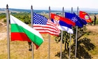 A line of flags at a training area in Koren, Bulgaria