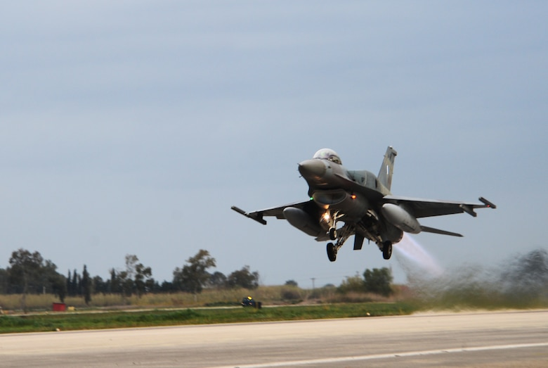 An F-16 Fighting Falcon assigned to the Hellenic Air Forces' 336th Squadron takes off from Andravida Air Base, Greece, March 21, 2018, during exercise INIOHOS 18. The 336th Squadron are training with the 492nd Fighter Squadron, Royal Air Force Lakenheath, England and other partners and Allies during the exercise to increase interoperability and strengthen partnerships. (U.S. Air Force photo/1st Lt. Elias Small)