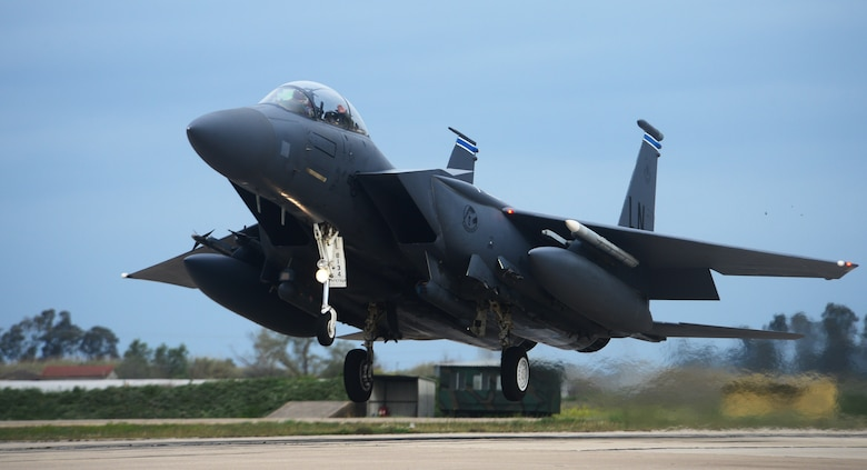 An F-15E Strike Eagle assigned to the 492nd Fighter Squadron, Royal Air Force Lakenheath, England prepares to land at Andravida Air Base, Greece, March 21, 2018, during exercise INIOHOS 18. Seventy-six fighter aircraft are participating in this years' iteration of the exercise. (U.S. Air Force photo/1st Lt. Elias Small)