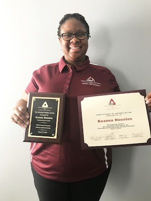 """Keanna Houston, Huntsville Center Contracting Directorate, received the """"Michael Nobels Newcomer"""" Award for her work as a first-time consultant supporting the 43rd annual Alabama A&M University Youth Motivational Task Force Conference, March 11-13."""