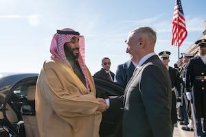 Defense Secretary James N. Mattis shakes hands with Saudi Arabian Crown Prince Mohammed bin Salman.