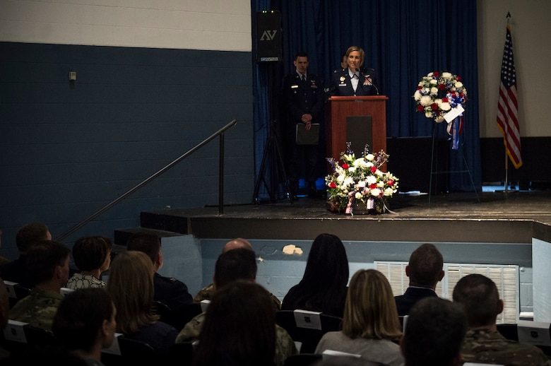 Col. Jennifer Short, 23d Wing commander, speaks during a memorial service in honor of Capt. Mark Weber, March 21, 2018, at Moody Air Force Base, Ga. Weber, a 38th Rescue Squadron combat rescue officer and Texas native, was killed in an HH-60G Pave Hawk crash in Anbar Province, Iraq, March 15. During the ceremony, Weber was posthumously awarded a Meritorious Service Medal and the Air Force Commendation Medal. (U.S. Air Force photo by Andrea Jenkins)