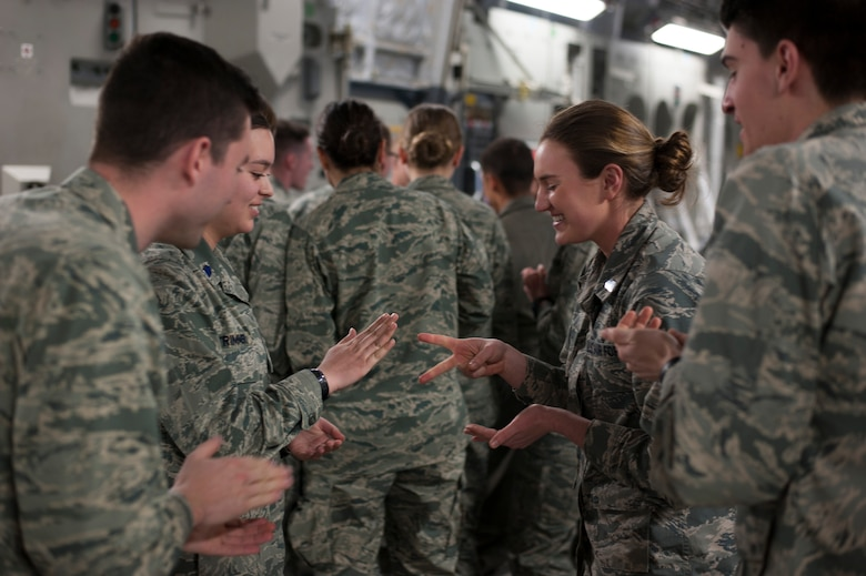 U.S. Air Force Reserve Officers Training Corps cadets assigned to Detachment 640 from Miami University, Ohio, conduct a leadership exercise during an in-flight leadership course aboard a C-17 Globemaster III aircraft from the 445th Airlift Wing at Wright-Patterson Air Force Base, Ohio, March 19, 2018.