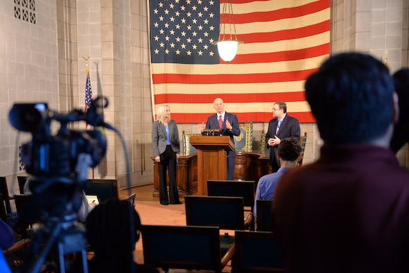 Nebraska Gov. Pete Ricketts addresses the media, March 19, 2018, at the Nebraska State Capitol in Lincoln, Nebraska after signing a change to Rule 21, which regulates state teaching licenses,which will make it easier for military spouses to teach immediately if they have recently arrived from out of state.