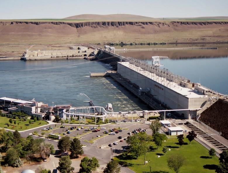 Aerial photo of McNary Lock and Dam, near Umatilla, Oregon.