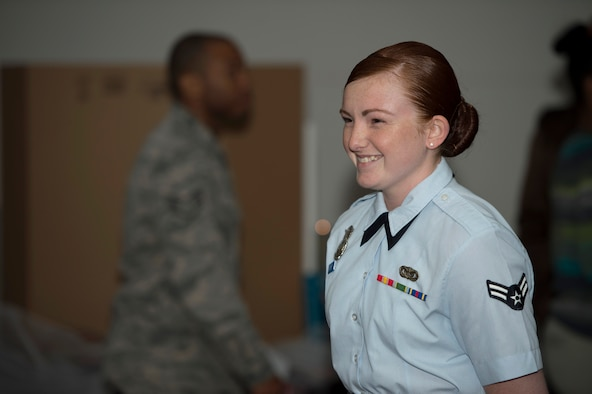 U.S Air Force Airman 1st Class Ada Short, an entry controller assigned to the 6th Security Forces Squadron, portrays Airman 1st Class Elizabeth Jacobson during the living museum event at MacDill Air Force Base, Fla., Mar 22, 2018.