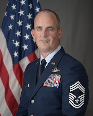 Chief Master Sgt. Jeffrey L. Davis is the Superintendent for the 513th Air Control Group at Tinker Air Force Base, Oklahoma. The 513th is the only Air Force Reserve unit that maintains and flies the E-3 Sentry, an Airborne Warning and Control System aircraft, and reports directly to 10th Air Force. The chief is responsible for the effective management and utilization of more than 260 enlisted aircrew, maintenance and support personnel in 15 Air Force specialties working in support of airborne command and control operations. (U.S. Air Force photo/2nd Lt. Caleb Wanzer)