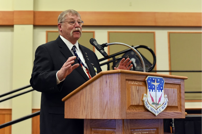 180228-F-UQ541-0673 Peter Woelkers Sr., 341st Missile Wing Weapons Safety Office chief of weapons safety/nuclear surety officer, offers remarks to attendees at his retirement ceremony, Feb. 28, 2018, at Malmstrom Air Force Base, Mont. Woelkers said goodbye to Malmstrom after a 20-year civilian career. (U.S. Air Force photo by Kiersten McCutchan)