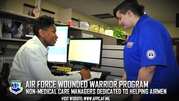 Tijuana Hannibal (left), a lead non-medical care manager with the Air Force Wounded Warrior Program, discusses personnel and career options with retired Senior Airman Hannah Stolberg, who enrolled in the AFW2 Program in 2015.