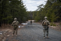 Airmen from the 824th Base Defense Squadron confront a possible threat during a Mission Readiness Exercise, March 16, 2018, at Joint Base McGuire-Dix Lakehurst, N.J. Evaluators tested the 824th BDS from Moody Air Force Base, Ga., and the 105th Security Forces Squadron from Stewart Air National Guard Base, N.Y., to ensure their combat readiness. (U.S. Air Force photo by Senior Airman Janiqua P. Robinson)
