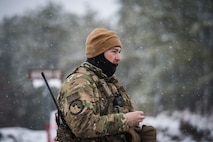 Senior Airman Ian Brown, 824th Base Defense Squadron fireteam member, walks in the snow during a Mission Readiness Exercise, March 13, 2018, at Joint Base McGuire-Dix Lakehurst, N.J. Evaluators tested the 824th BDS from Moody Air Force Base, Ga., and the 105th Security Forces Squadron from Stewart Air National Guard Base, N.Y., to ensure their combat readiness. (U.S. Air Force photo by Senior Airman Janiqua P. Robinson)