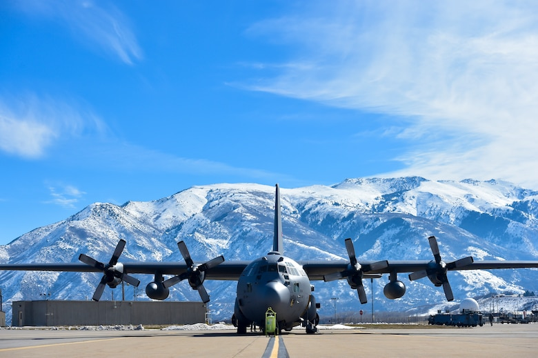 A 910th Airlift Wing C-130H Hercules sits on the ramp at Hill Air Force Base (AFB), Utah, March 7, 2018 during an aerial spray mission.