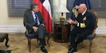 Navy Adm. Kurt W. Tidd meets with Chilean Minister of Defense Alberto Espina.