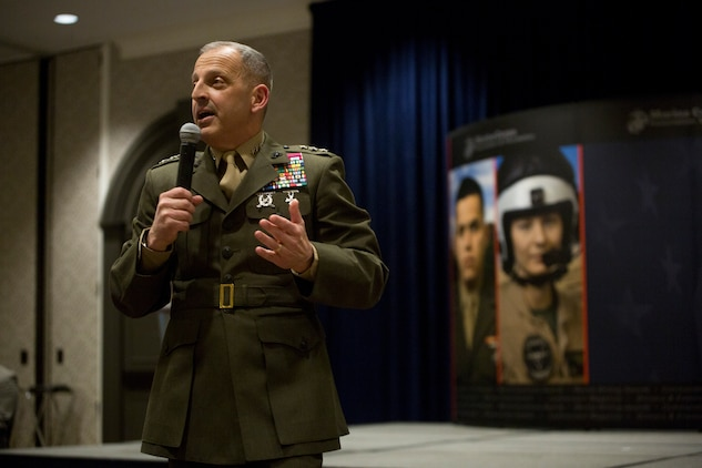 Lt. Gen. Michael G. Dana, Deputy Commandant of Installations and Logistics, speaks about the value of the logistics community in the Marine Corps at the Marine Corps Association and Foundation's 14th annual Ground Logistics Awards Dinner at the Crystal Gateway Marriott, Arlington, Virginia, March 22, 2018. Competing against every logistics unit in the Marine Corps, MWSS-473 has, for the first time in the awards history, won the Marine Corps Logistics Organization/Team of the Year for a large unit award for all their humanitarian and relief efforts with hurricane's Harvey and Irma, as well as aide relief for a plane crash in Mississippi. (U.S. Marine Corps photo by Cpl. Dallas Johnson)