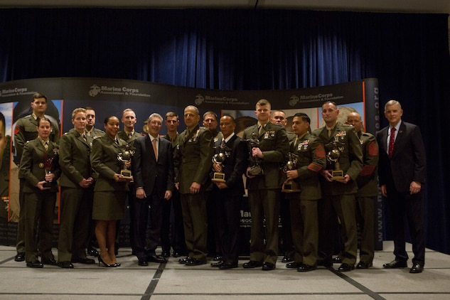 All the winners of the Marine Corps Association and Foundation's 14th annual Ground Logistics Awards pose for a photo at the Crystal Gateway Marriott, Arlington, Virginia, March 22, 2018. The dinner provided the formal opportunity to recognize the professional achievements of the top performing Marine logisticians and logistics unit of the year for the previous year.