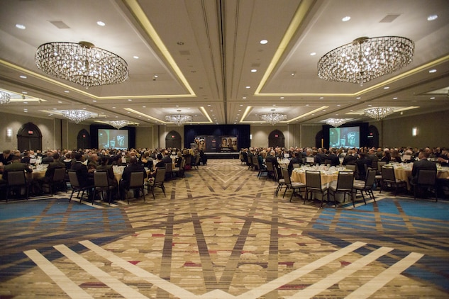 Approximately 500 Active, Reserve and retired Marines within the logistics community attend the Marine Corps Association and Foundation's 14th annual Ground Logistics Awards Dinner at the Crystal Gateway Marriott, Arlington, Virginia, March 22, 2018. Marine Wing Support Squadron 473 was given the Marine Corps Logistics Organization/Team of the Year for a large unit award in part for their hurricane relief efforts and their aide efforts when Marine Aerial Refueler Transport Squadron 452 crashed in Mississippi. (U.S. Marine Corps photo by Cpl. Dallas Johnson)