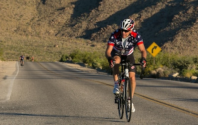 Riders travel through Joshua Tree National Park to celebrate Earth Day during the park to Park Ride, an annual event hosted by Environmental Affairs.