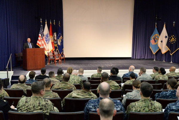 DLA Vice Director Ted Case addresses the reservists attending the 2018 JRF Mid-Year Leadership Review, March 16. Photo by Air Force Master Sgt. J. Scott Mathews.