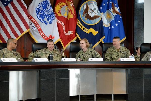 From left: Army Col. Ronnie Davis, Army Brig. Gen. Douglas Cherry, JRF Director Navy Rear Adm. Deborah Haven and Navy Command Master Chief William Sherman, senior enlisted leader for the JRF, discuss issues relevant to JRF integration.