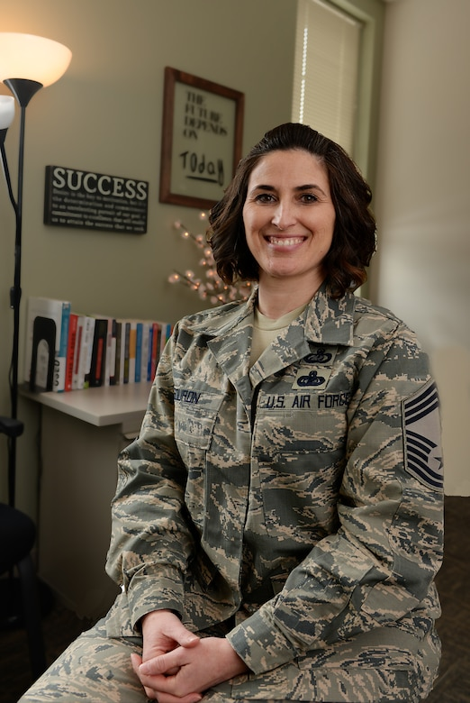 Chief Master Sgt. Laurice A. Souron poses for a photo while in her office at Pease Air National Guard Base. Souron became the eleventh female chief master sergeant in the more than 70 years since the New Hampshire ANG was created.