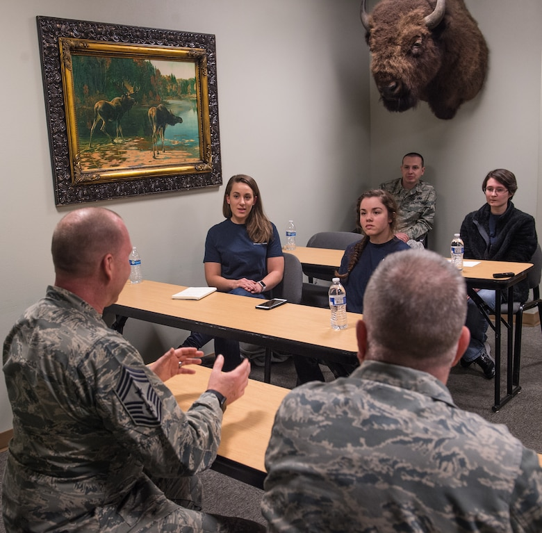Future Airmen from across the state of Alaska gathered to speak with Air Force Recruiting Service leadership and to get a taste of basic military training in Anchorage, Alaska, March 13, 2018. U.S. Air Force Col. Bob Trayers, AFRS vice commander, and Chief Master Sgt. Brian Labounty, AFRS command chief, came from Headquarters AFRS, Joint Base San Antonio-Randolph, Texas, to work with the state's recruiters, speak with the Air Force hopefuls about opportunities within the service and to answer any questions they had prior to shipping out to basic military training.