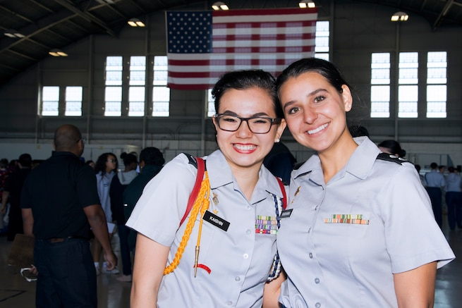 Junior Reserve Training Corps (JROTC) 1st Lt. Gwyneth Kaighin, and 1st Lt. Isabelle Guevara, both Florida JROTC cadets, pause for photo during the Science, Technology, Engineering, Arts and Math (STEAM) Day at MacDill Air Force Base, Fla., March 21, 2018.