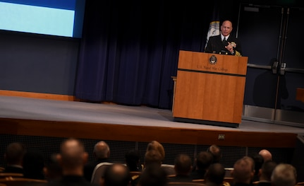 Adm. Kurt Tidd gives a speech at the Naval War College.