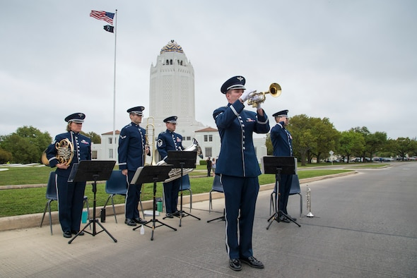The U.S. Air Force Band of the West plays during a wreath-laying ceremony March 23, 2018 at Joint Base San Antonio-Randolph, TX. The ceremony is held annually and is followed by a prisoner of war symposium that allows former POWs to share their experiences in Vietnam. (U.S. Air Force photo by Sean Worrell)