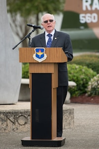U.S. Air force retired Col. Robert Certain, Freedom Flyer #200 spoke during a wreath-laying ceremony March 23, 2018 at Joint Base San Antonio-Randolph, TX. The ceremony was held at the Missing Man Formation Monument to honor all prisoners of war and missing in action service members from the Vietnam War. (U.S. Air Force photo by Sean Worrell)