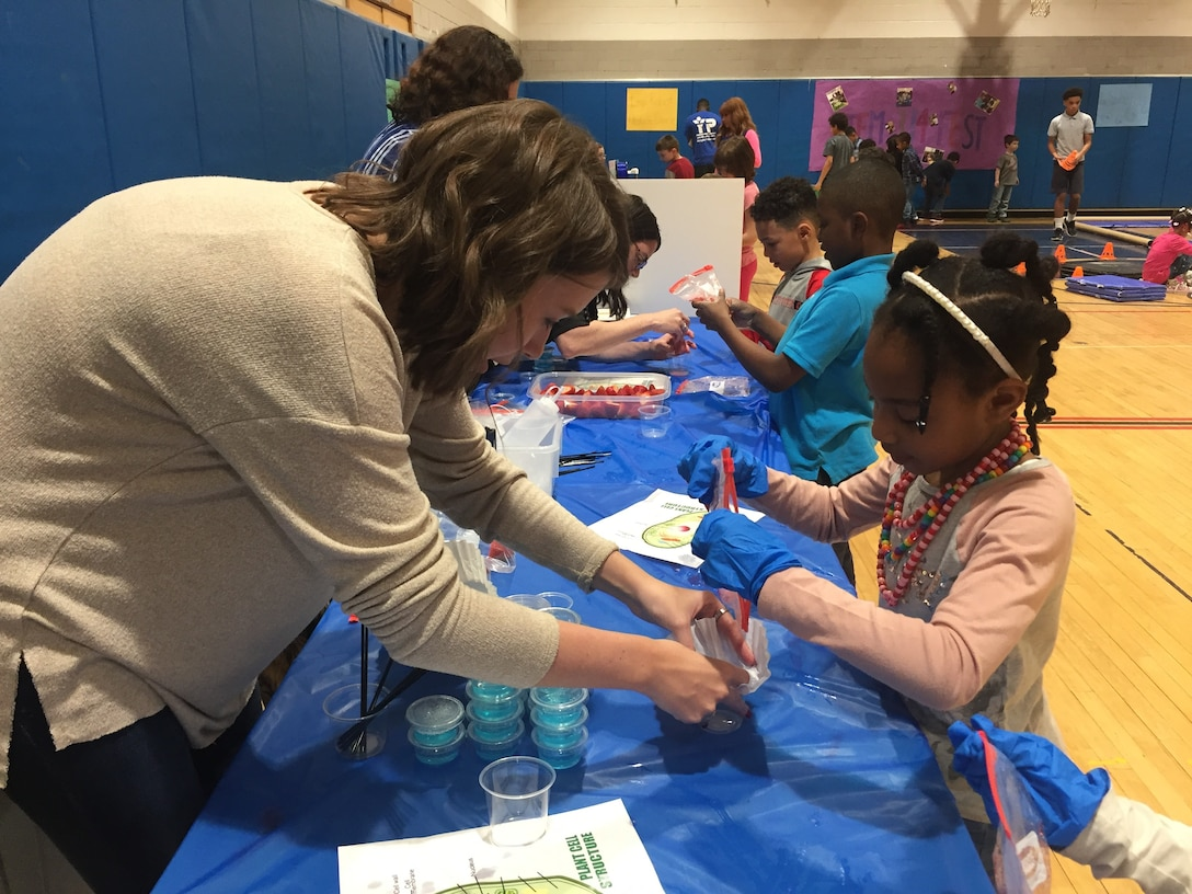 Christina Davis, student research assistant with the 711th Human Performance Wing, Air Force Research Laboratory, assists a student with identifying plant cell structures by extracting visible DNA from crushed and strained strawberries during STEMfest 3.14.  (Skywrighter photo/Amy Rollins)