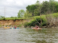U.S. Army Corps of Engineers, Buffalo District's Mike Snyder and Dan Bennett accompany Chris David with the Cuyahoga Valley National Park as part of a comprehensive streambank assessment of the Cuyahoga River June 7, 2017.