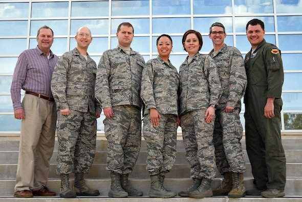 U.S. Air Force physicians assigned to the 20th Medical Group stand together for a group photo at Shaw Air Force Base, S.C., March 20, 2018.