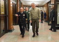 Gen. Joe Dunford, chairman of the Joint Chiefs of Staff, meets with his Japanese counterpart, Adm. Katsutoshi Kawano, at the Pentagon, March 26, 2018.