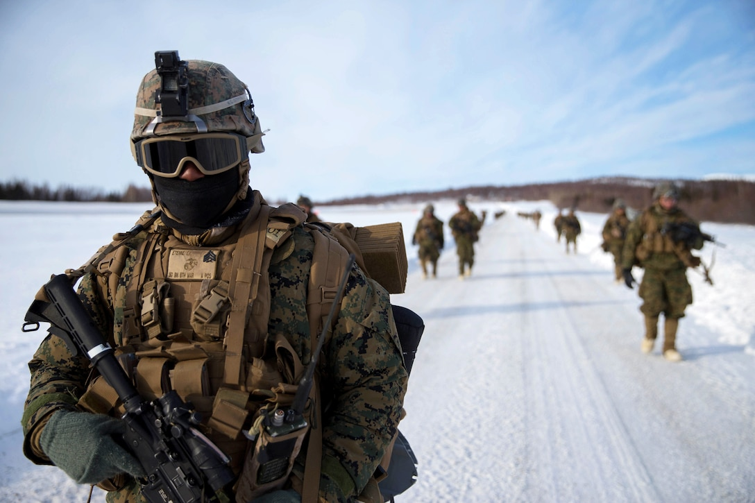 Marines patrol during exercise Arctic Edge 2018.