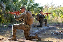 U.S. Marines provide security during a U.S. Marine Corps Forces Central Command (MARCENT) noncommissioned officer (NCO) field exercise at MacDill Air Force Base, Fla., March 14-15, 2018. MARCENT hosted this exercise to refresh proficiency in basic infantry and develop NCO skills.