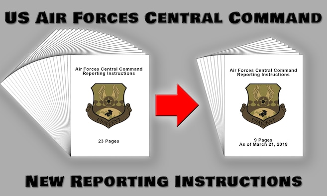 The U.S. Air Forces Central Command's Manpower, Personnel and Services directorate (A1) recently developed and implemented new pre-deployment requirements for Airmen deploying to the AFCENT area of responsibility. The new requirements, which went into effect March 21, significantly reduce the amount of training and paperwork required before deploying, saving valuable time for Airmen. (U.S. Air Force graphic by Staff Sgt. Jeff Parkinson)