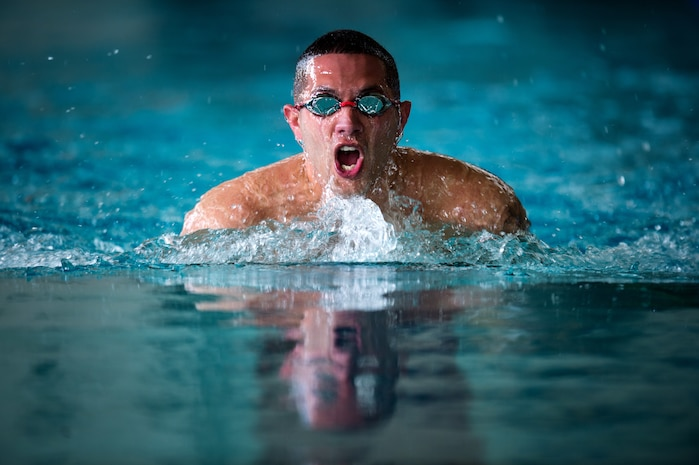 U.S. Marine Corps Gunnery Sgt. Alexis Padilla competes in the 50-meter breaststroke during the 2018 Marine Corps Trials swimming competition at Marine Corps Air Station New River, N.C., March 24, 2018. The Marine Corps Trials promotes recovery and rehabilitation through adaptive sport participation and develops camaraderie among recovering service members and veterans. It is an opportunity for RSMs to demonstrate their achievements and serves as the primary venue to select Marine Corps participants for the DoD Warrior Games.