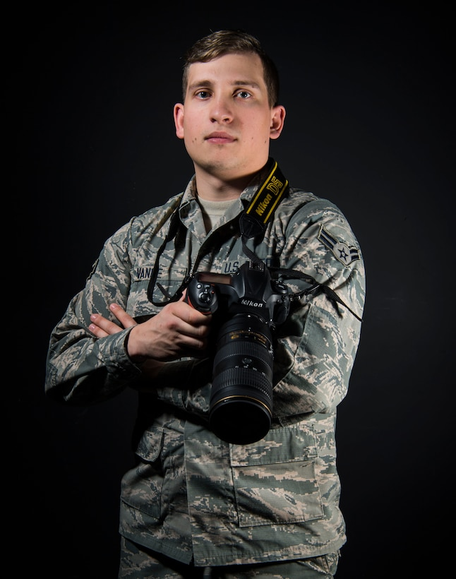 """Studio photo of Airman 1st Class Caleb Vance. Vance was selected as the Air National Guard's """"New Military Photographer of the Year"""" for 2017. (U.S. Air National Guard photo by Tech. Sgt. De-Juan Haley)"""