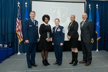Ms Oralyn Weston, Civilian of the Year, Category III, (second from left) poses for a portrait with Air National Guard Readiness Center leadership and sponsors at the ANGRC Annual Awards ceremony on Joint Base Andrews, Md., March 22, 2018. (U.S. Air National Guard photo/Tech. Sgt. John E. Hillier)